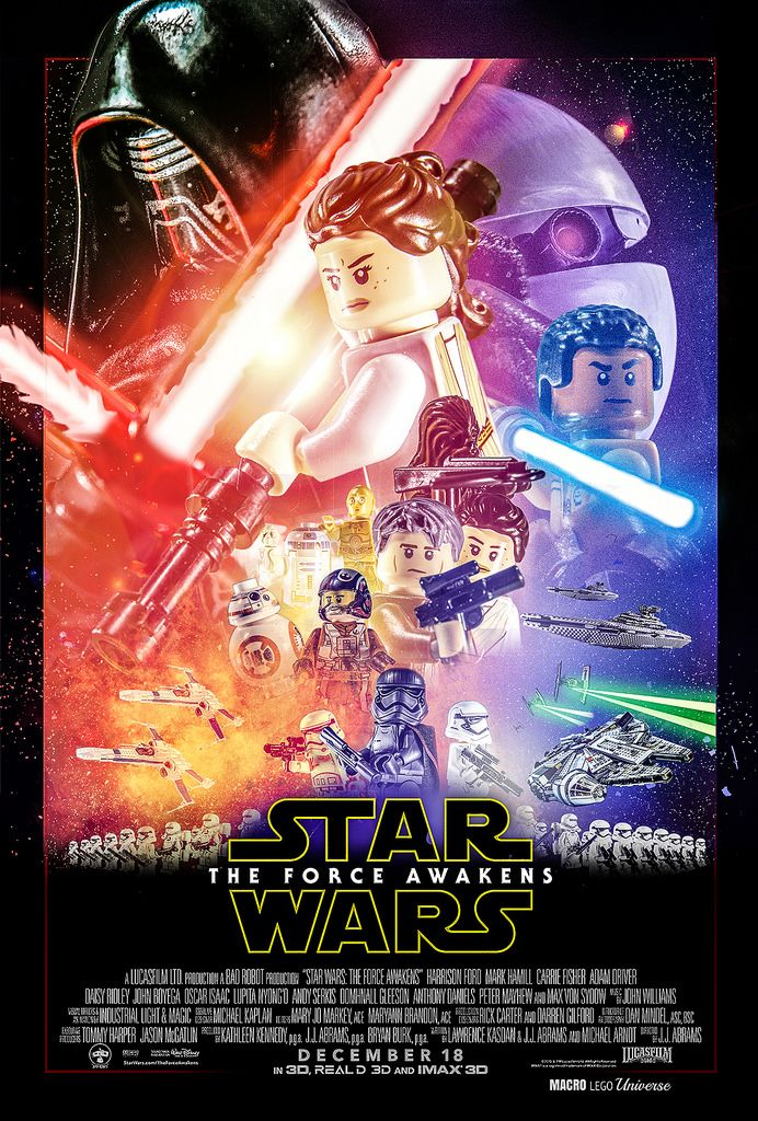 LEGO version of The Force Awakens theatrical poster | Lego Star Wars ...