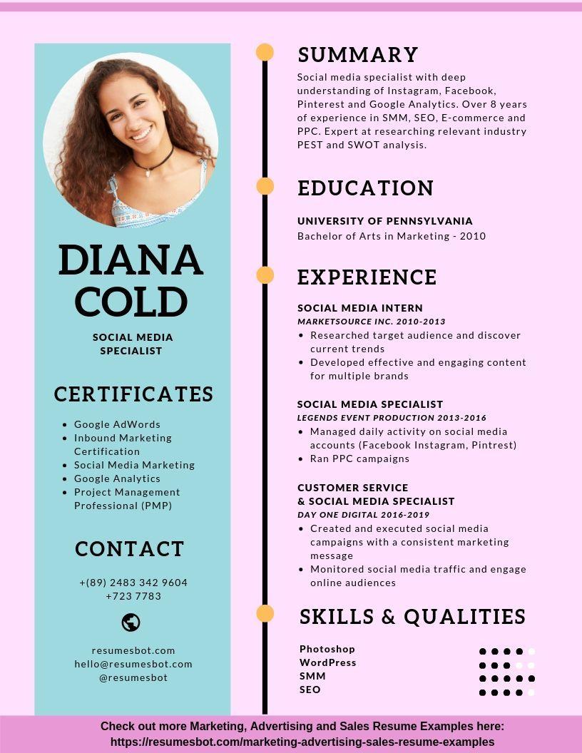 Social Media Specialist Resume Samples Templates Pdf Doc 2021 Social Media Specialist Resumes Bot Resume Examples Media Specialist Job Resume Template