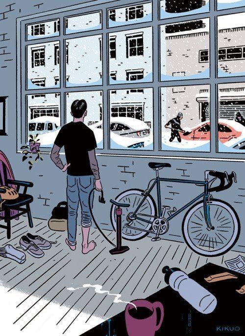 /by Kikuo #cycling #winter #illustration