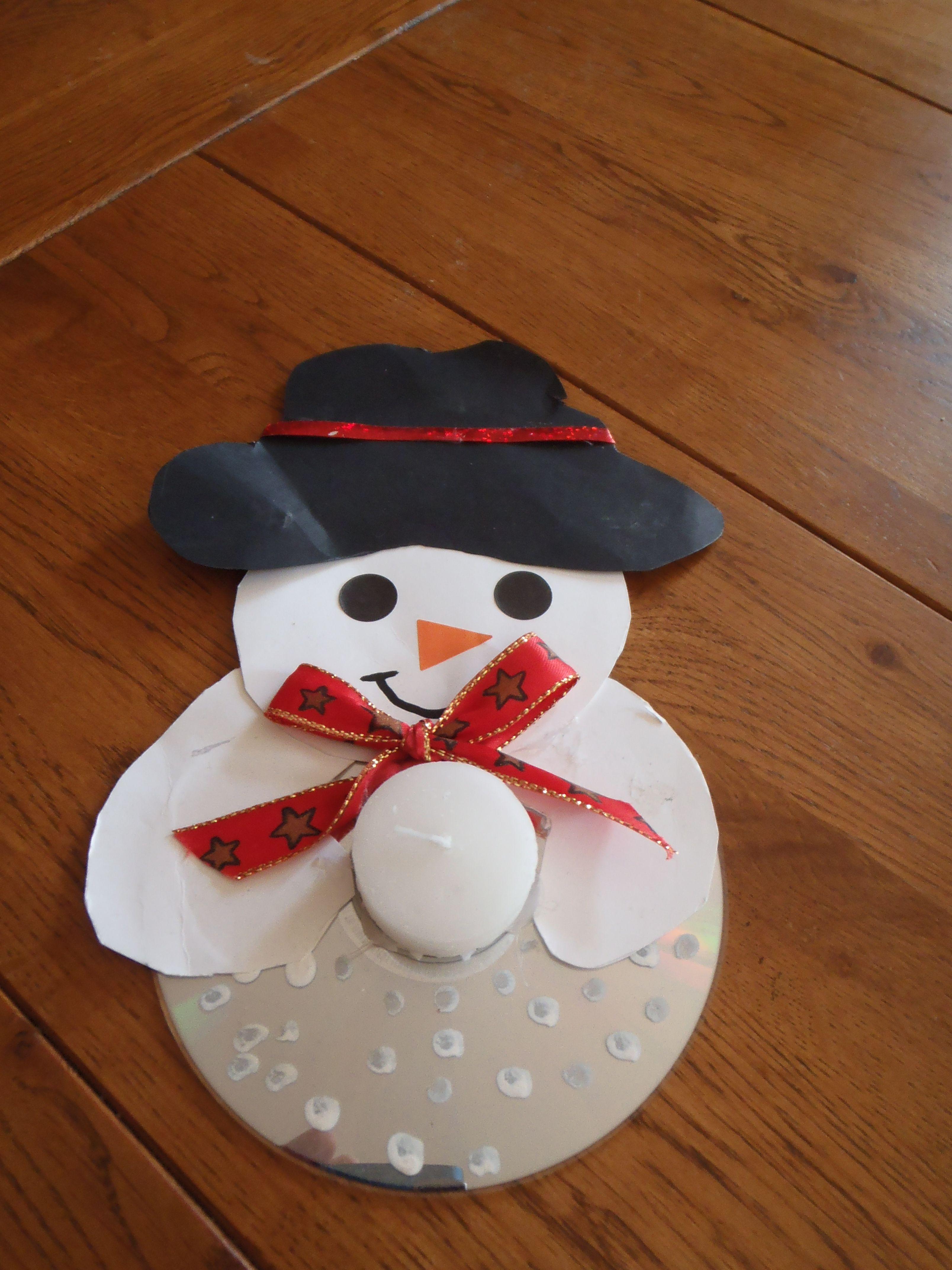 Bonhomme de neige bougeoir cd noel r cup pinterest - Pinterest bonhomme de neige ...