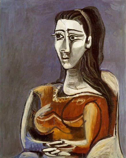 Pablo Picasso. Femme assise dans un fauteuil (Jacqueline). 1962 year ...