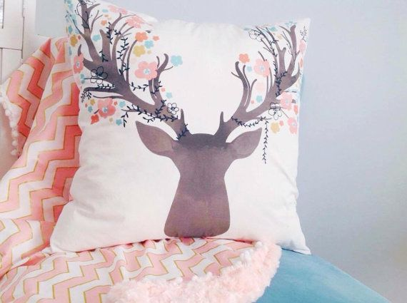 Buck cover pillow decorative cushion stag pink fawn baby nursery - peinture chambre bebe fille