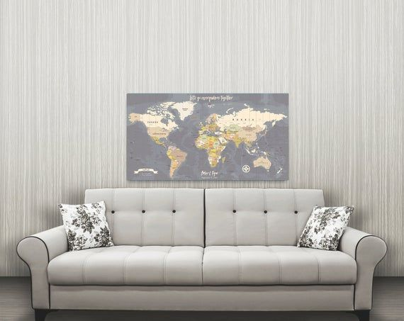 ON SALE World Travel Map, Personalized Map, Canvas Pushpin Map, Husband Gift, Our Travels Map, Perso