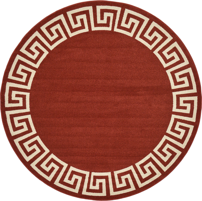 Terracotta 8 X Greek Key Round Rug Area Rugs Irugs Uk