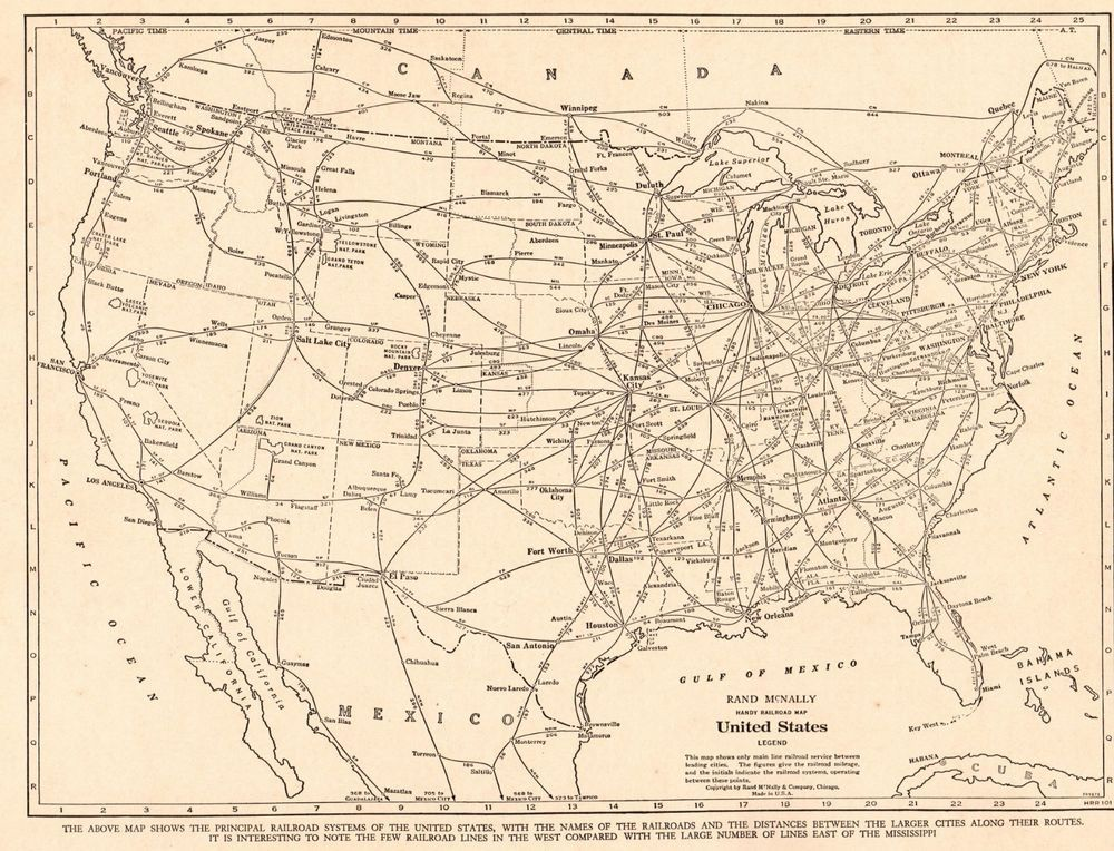 1939 Vintage United States Map With Railroads Usa Railway Map