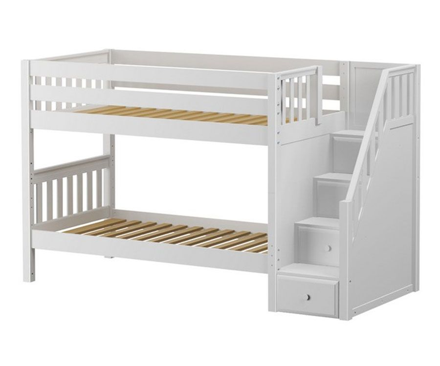 Best Maxtrix Stacker Low Bunk Bed With Stairs Shop Bunk Beds 400 x 300