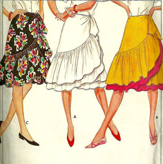 Butterick 4807 1980s Misses Flared Wrap Skirt Pattern JUPE Ruffle ...