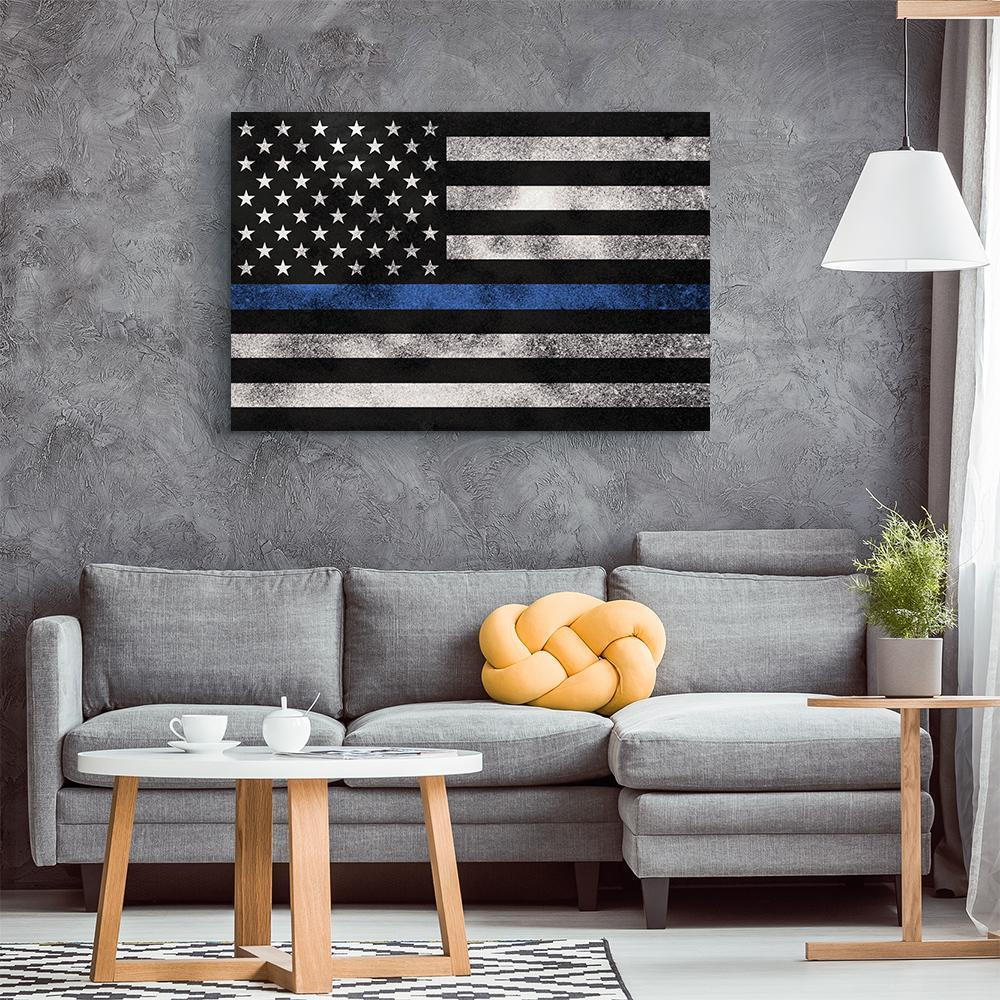 Thin Blue Line Grunge Flag Canvas Wall Art Free Canvas Canvas Wall Art Canvas Wall Art Display