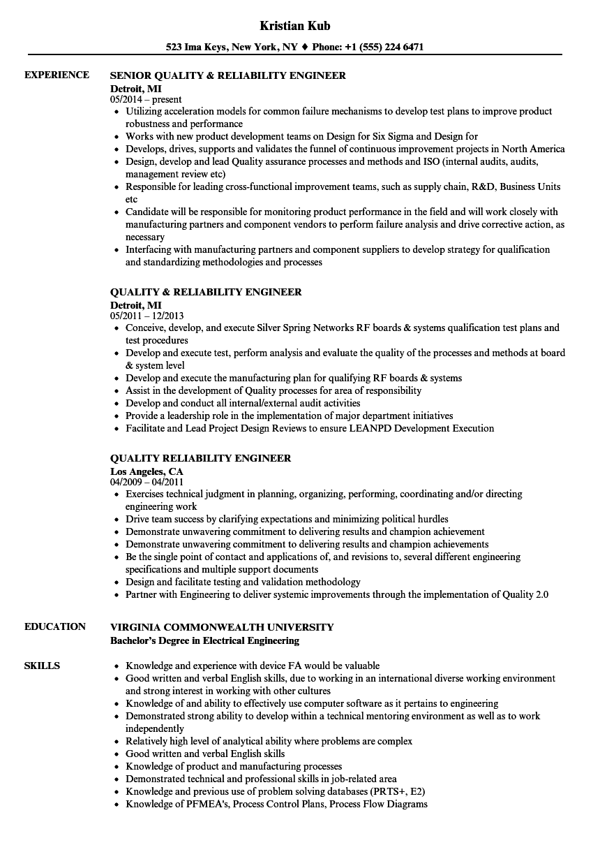 Quality Reliability Engineer Resume Samples Velvet Jobs
