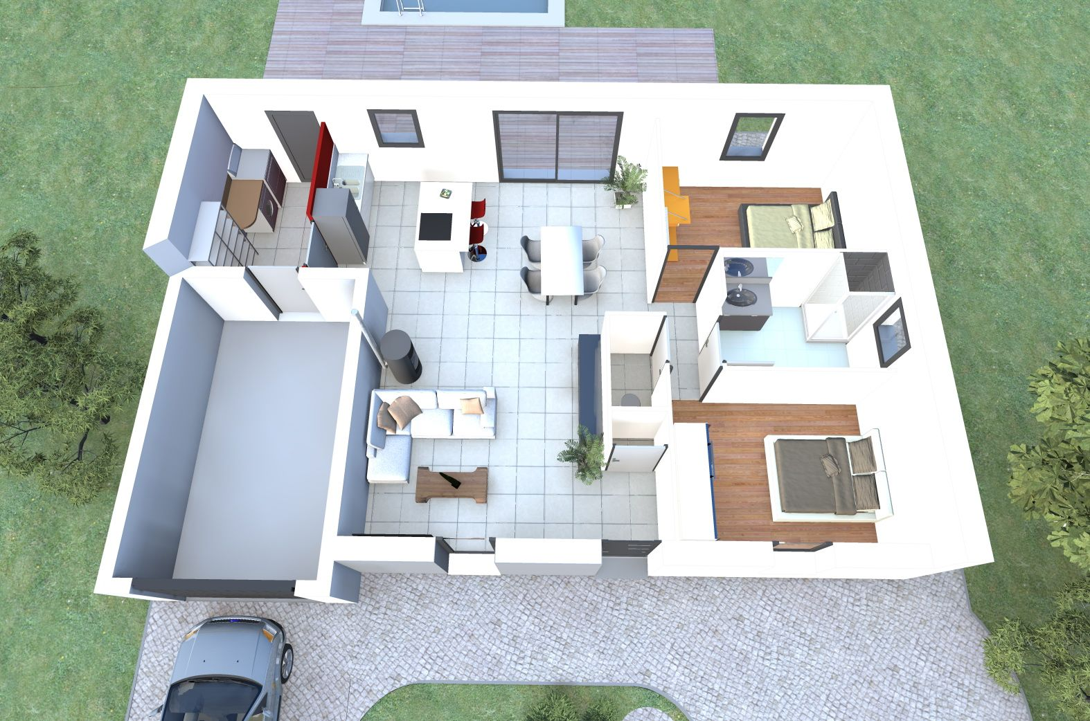 Visualisez le plan 3d d 39 un de nos mod les de maison 2 for Plan d interieur de maison