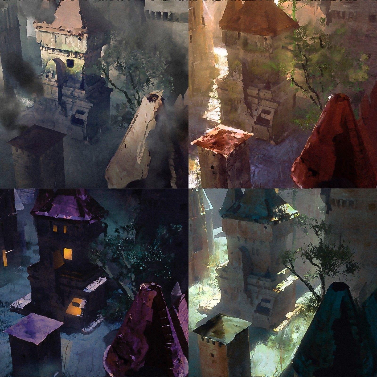 Narrative Light and Color - Medieval Ruins - Part 1, Stéphane (Wootha) Richard on ArtStation at https://www.artstation.com/artwork/DB61o