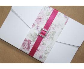 Rose pocketfold DIY wedding invitations
