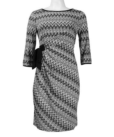 Another great find on #zulily! Gray Zigzag Three-Quarter Sleeve Dress - Women by Trendmakers #zulilyfinds