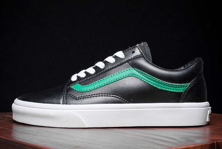 aa59f32da4f790 Black Leather Vans Old Skool Green Stripe Skate Shoes  Vans ...