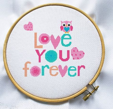 Counted cross stitch pattern, Instant Download, Free shipping, Cross-Stitch PDF, Love you forever