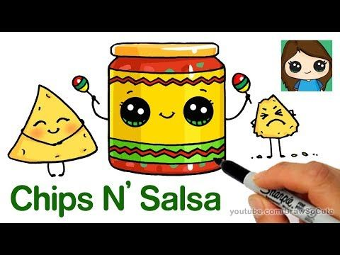 How To Draw Chips And Salsa Easy Cute Snack Food Youtube