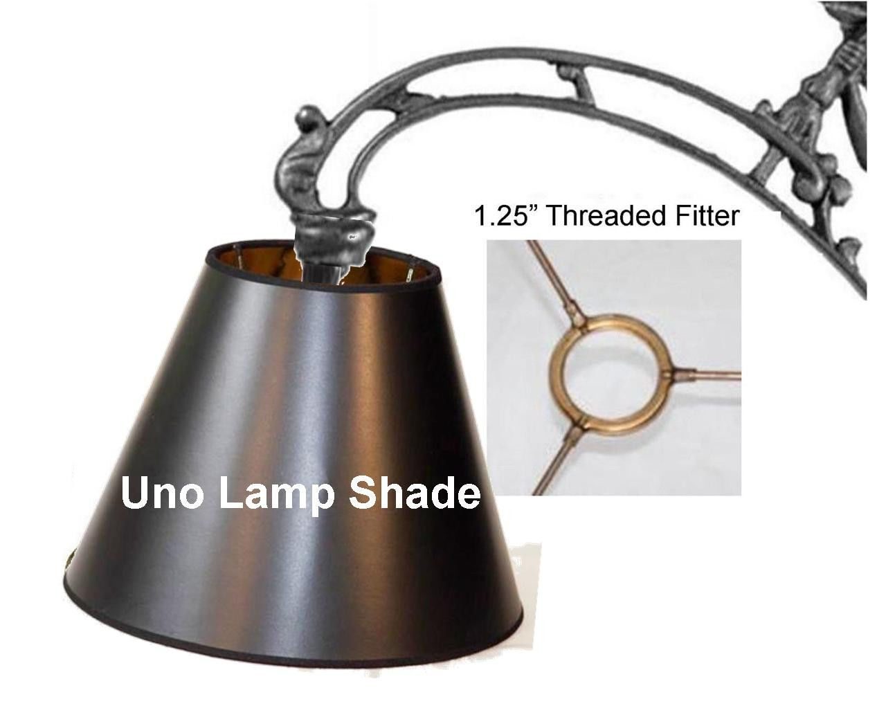 P On Er Black Lampshade Fits Floor Lamps Bridge Arm Gooseneck And Others Uno Lamp Shade Has 1 25 Wide Threaded