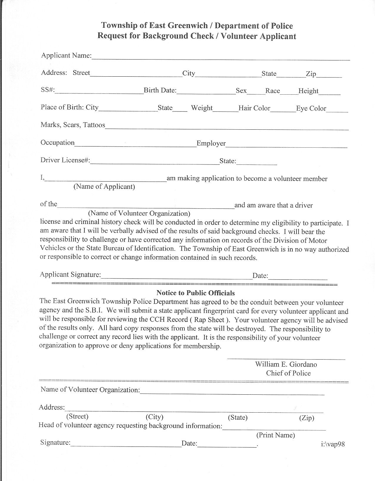 Volunteer Police Clearance Request Letter Hdvolunteer Police