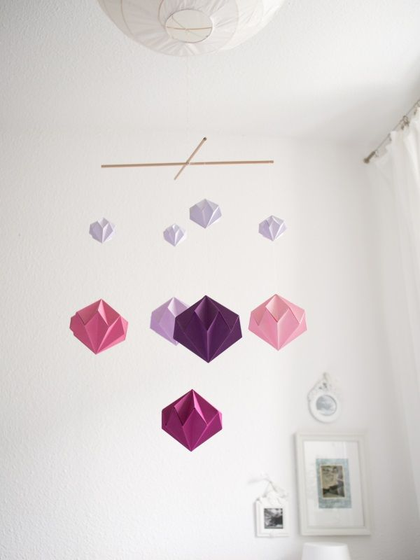 diy origami diamant mobile geschenke basteln mobile basteln basteln und origami. Black Bedroom Furniture Sets. Home Design Ideas