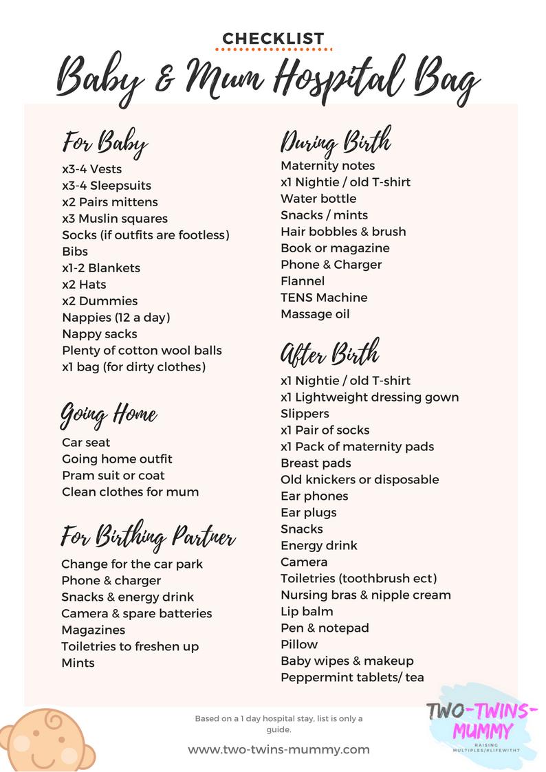 hospital bag checklist for mom and baby pdf