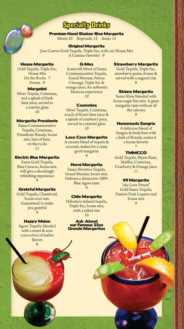 Menu specialty drinks grande mexico restaurante y for Bar 88 food menu