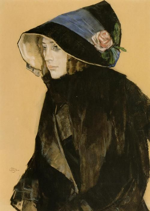 She wore flowers on her hat - Léo Gestel