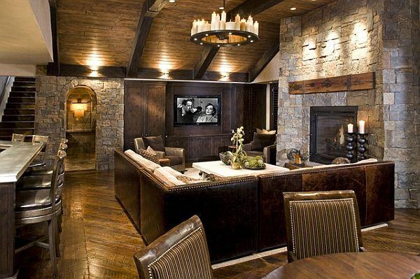 Zimmer Im Keller Einrichten Wohnzimmer Mit Kamin