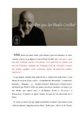 Por que ler Paulo Coelho? (Marcus Deminco)