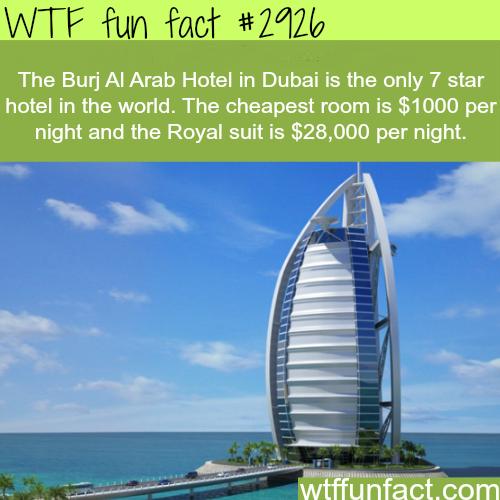 Burj al arab hotel the only 7 star hotel wtf fun facts for Burj al arab 7 star hotel
