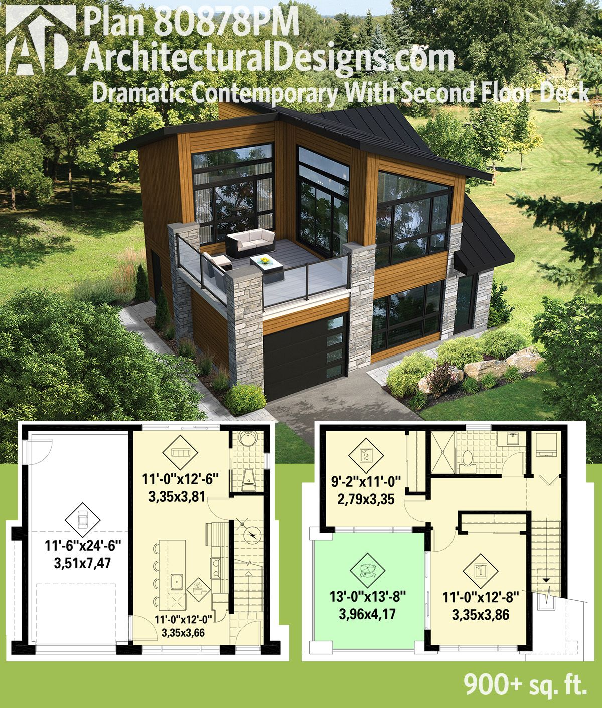 plan 80878pm dramatic contemporary with second floor deck tiny houses get a deck over the garage and over 900 square feet of living with architectural designs