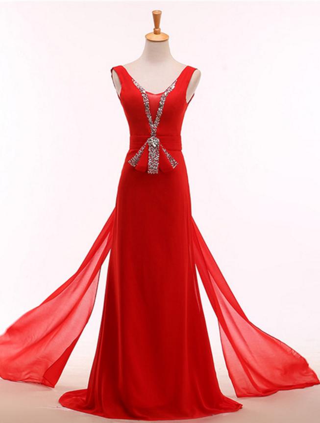 Elegant red evening dress, crystal ball gown, evening | Olesa ...