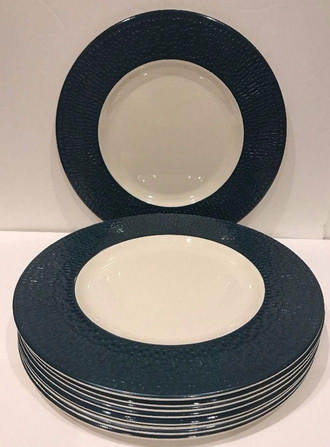 Threshold Melamine S/8  Dinner Plate Indoor/Outdoor Green Textured Border Design