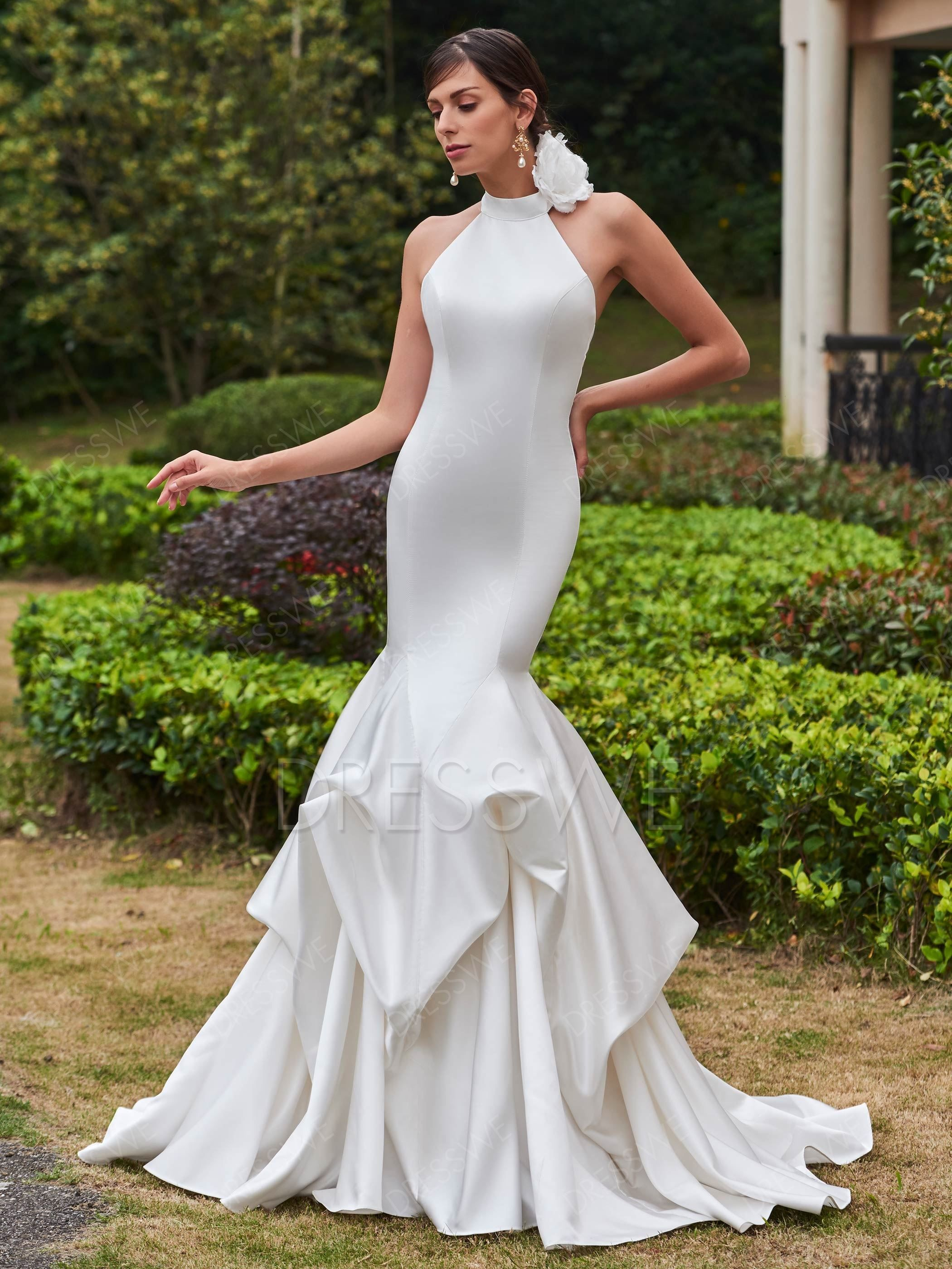 Vintage wedding dresses with sleeves  Buy Vintage High Neck ZipperUp Mermaid Wedding Dress Online