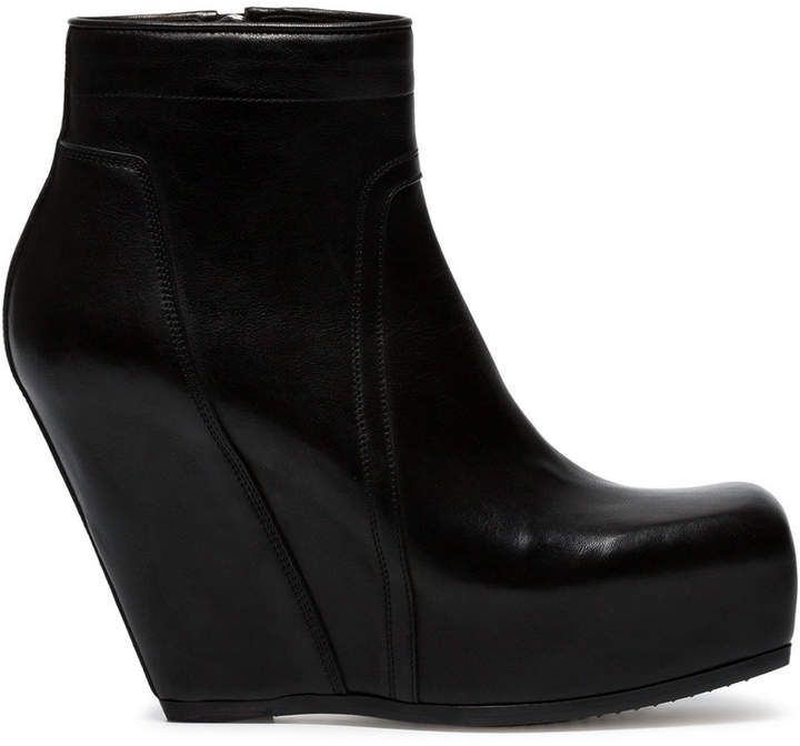 Black Concealed Wedge 110 leather boots Rick Owens