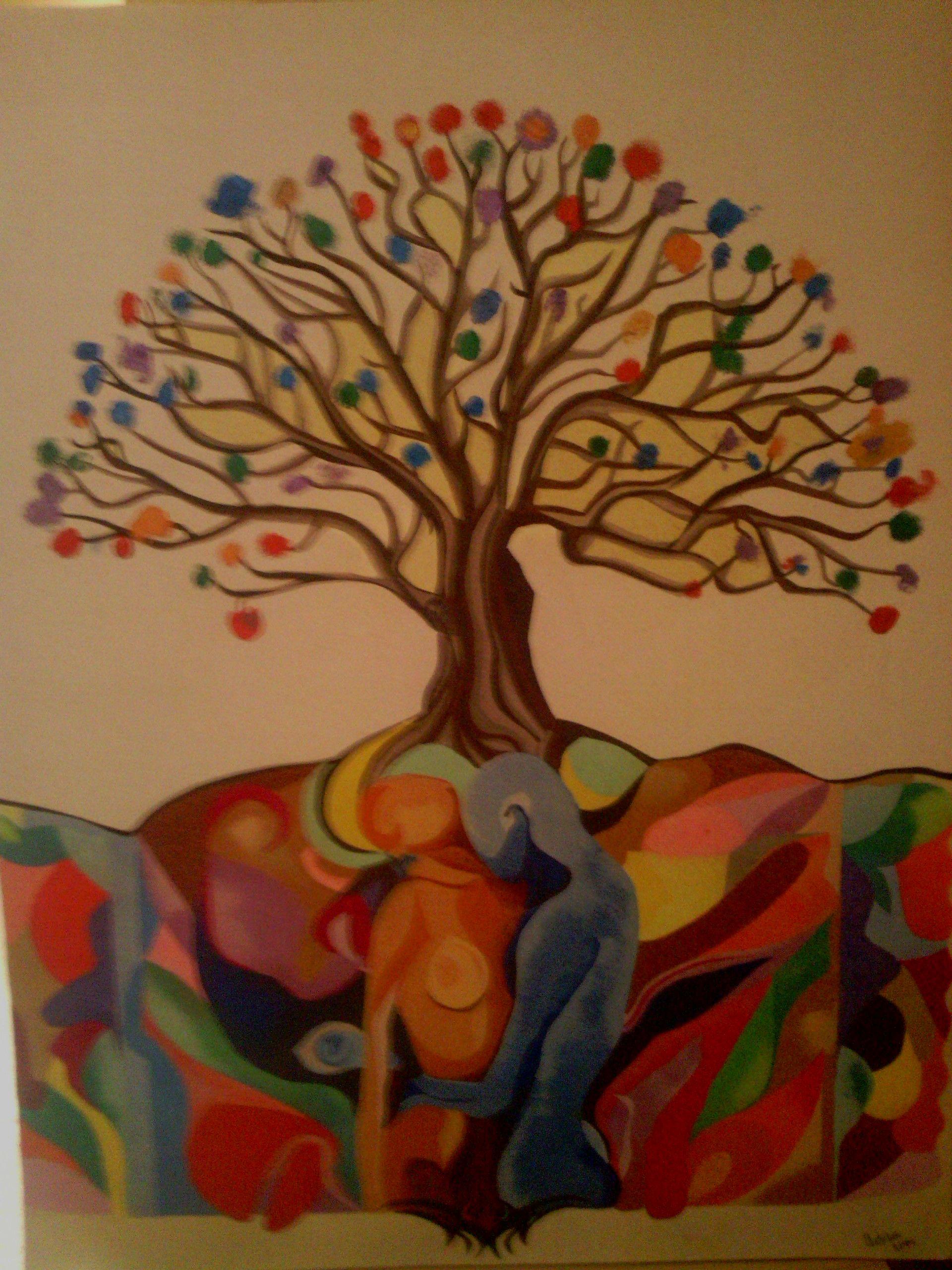 Cuadro en arenas de colores-Arbol del amor- | Pintures amb sorra ...