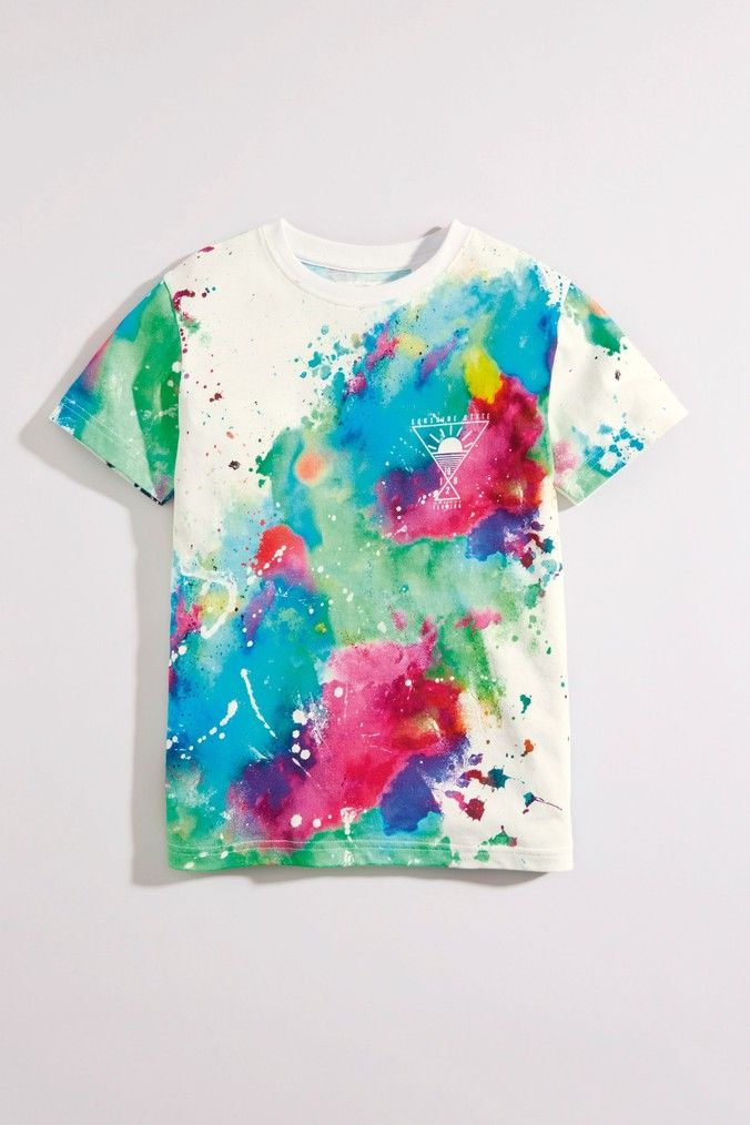 Colourful Splat All Over T Shirt Funky Bright Paint Summer Indie Urban Fresh