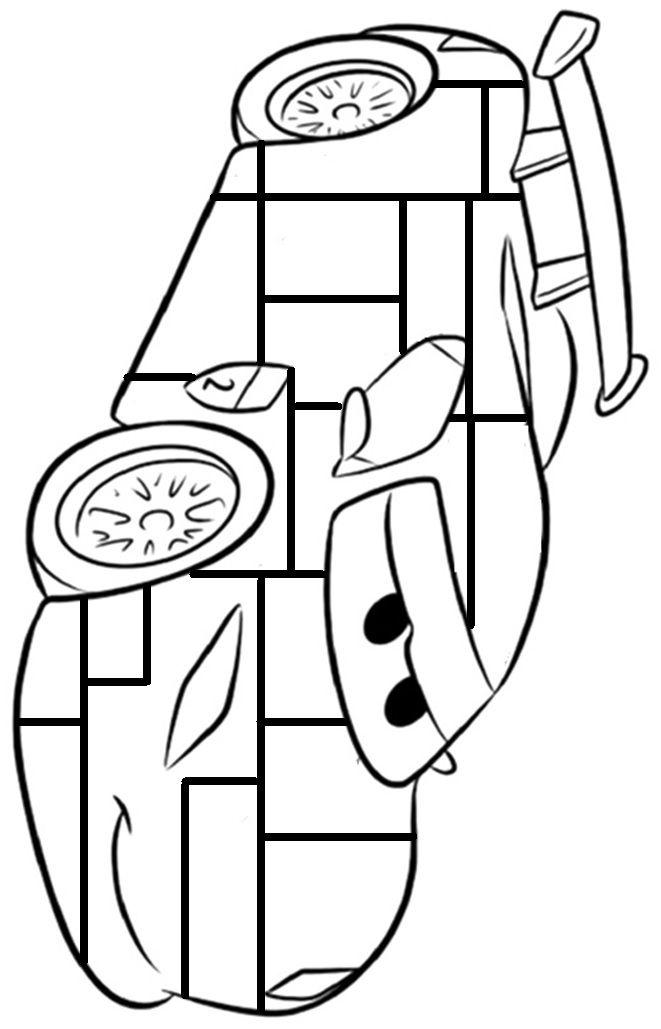 Kleurplaten Cars A4 Formaat.Cars Auto Bliksem Kleurplaat Mondriaan Inkleuren Met Zwart Geel