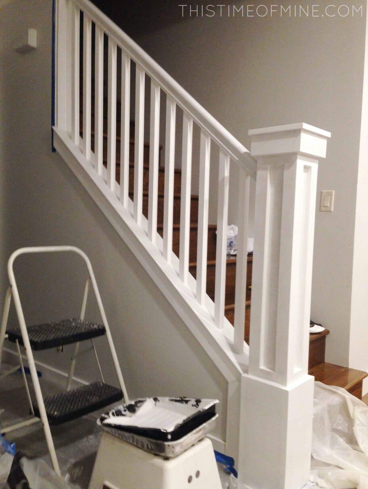 Remodelaholic Diy Stair Banister Makeover Using Gel Stain Home