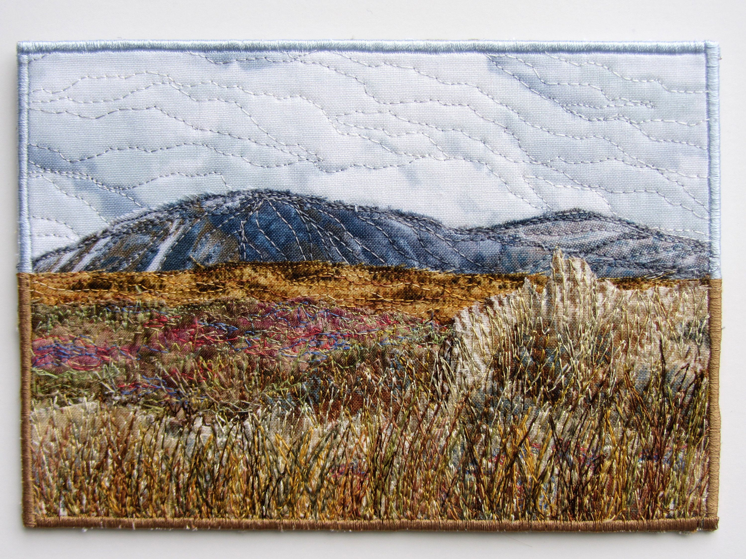 Mini Landscape Quilt Fall Colors Mountain Scene Small Art Quilt Tall Grass Fabric Collage Fabric Quil Landscape Art Quilts Landscape Quilt Landscape Quilts