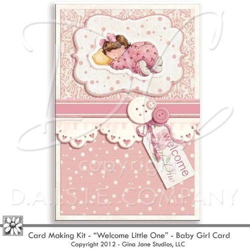Handmade Baby Girl Card To Print Printable New Baby Card