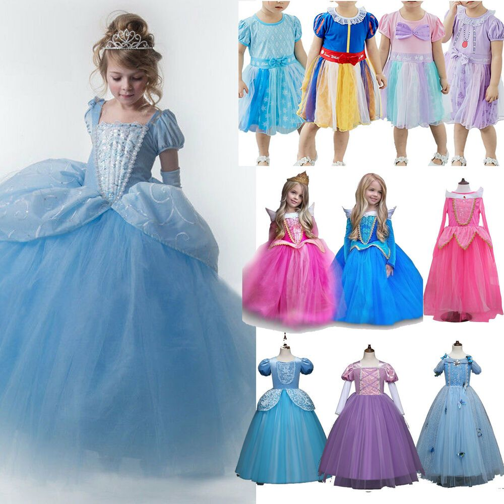 Kid Girl Princess Snow White Sofia Belle Alice In Wonderland Fancy Dress Costume