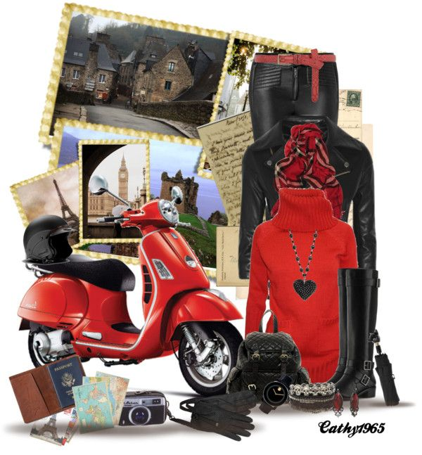 """""""countrycousin challenge #15 Vespa Scooter"""" by cathy1965 ❤ liked on Polyvore"""