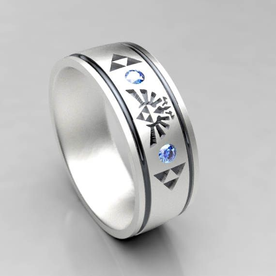 Zelda Themed Wide Wedding Ring Silver Wedding Band With Sapphire