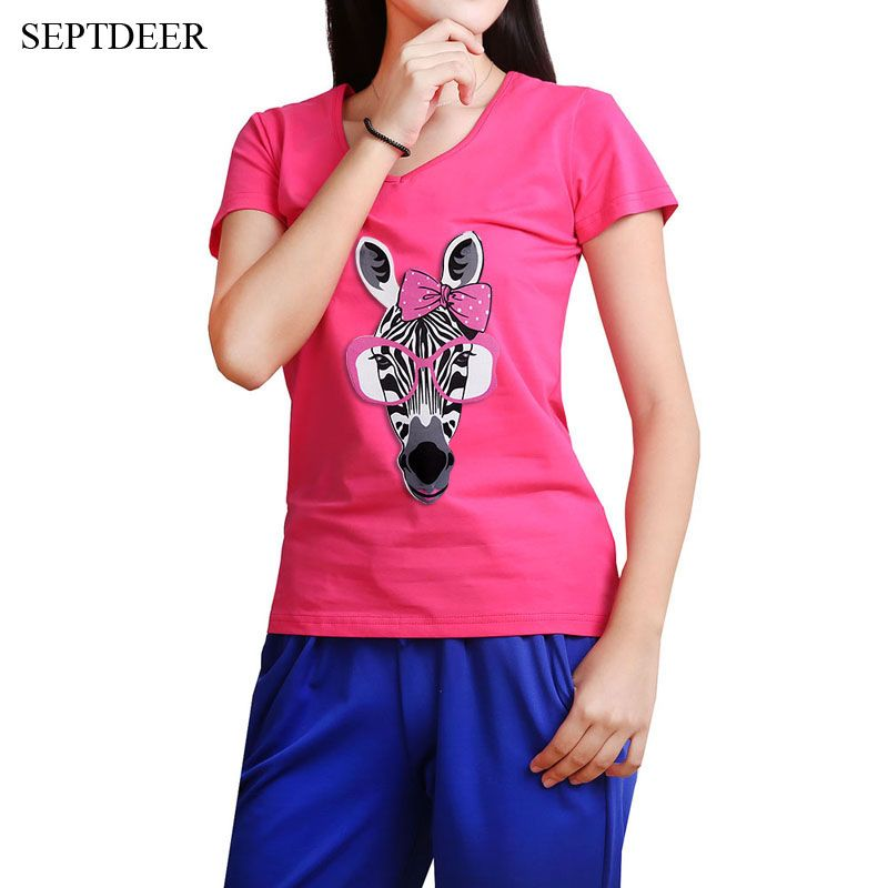 d562f3227aa SEPTDEER New Women s Big Size Cute Glasses Zera Pattern Short Sleeve Women  T-shirts 5xl