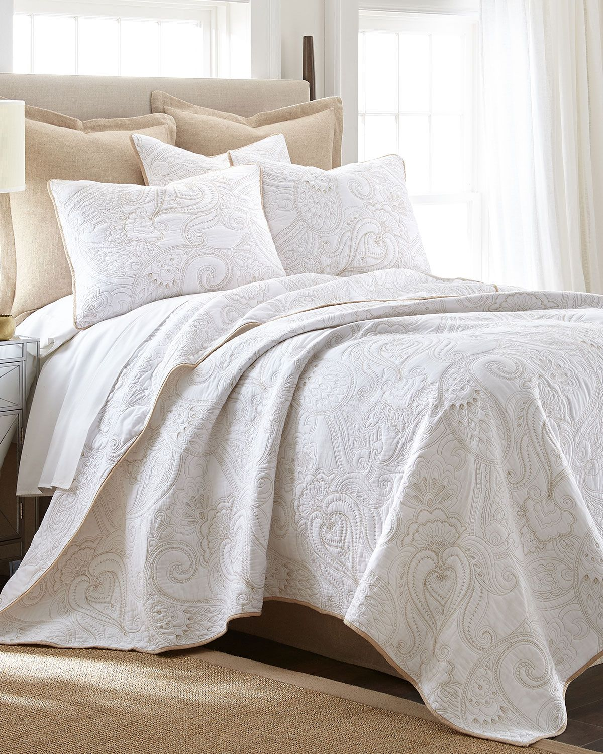 Levtex Perla White Full/Queen Quilt Set and Matching Items