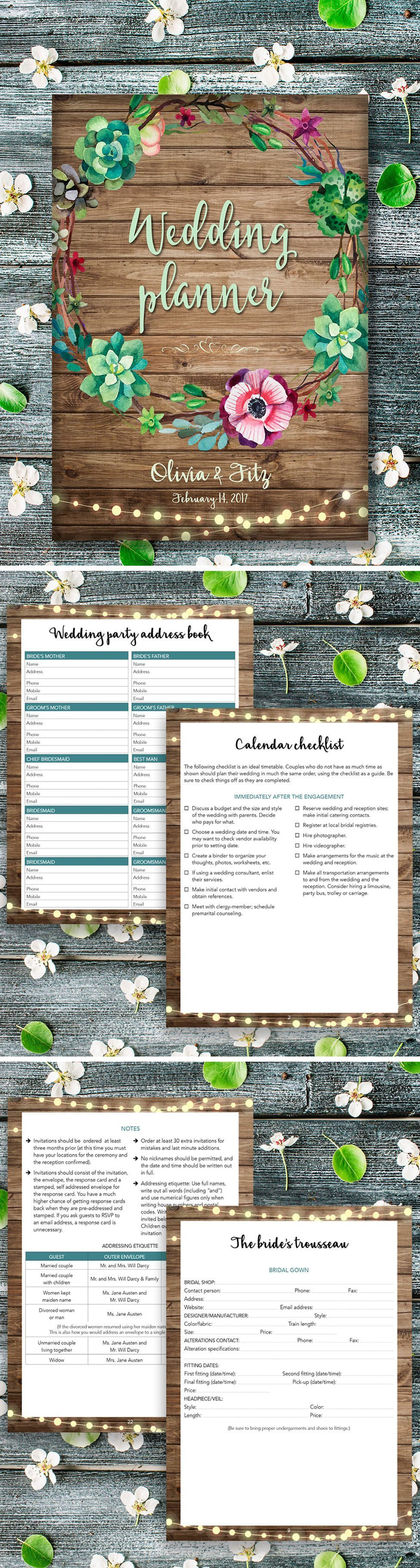Printable wedding planner, Wedding planner book, DIY wedding guide, PDF wedding kit, Wedding bin ...