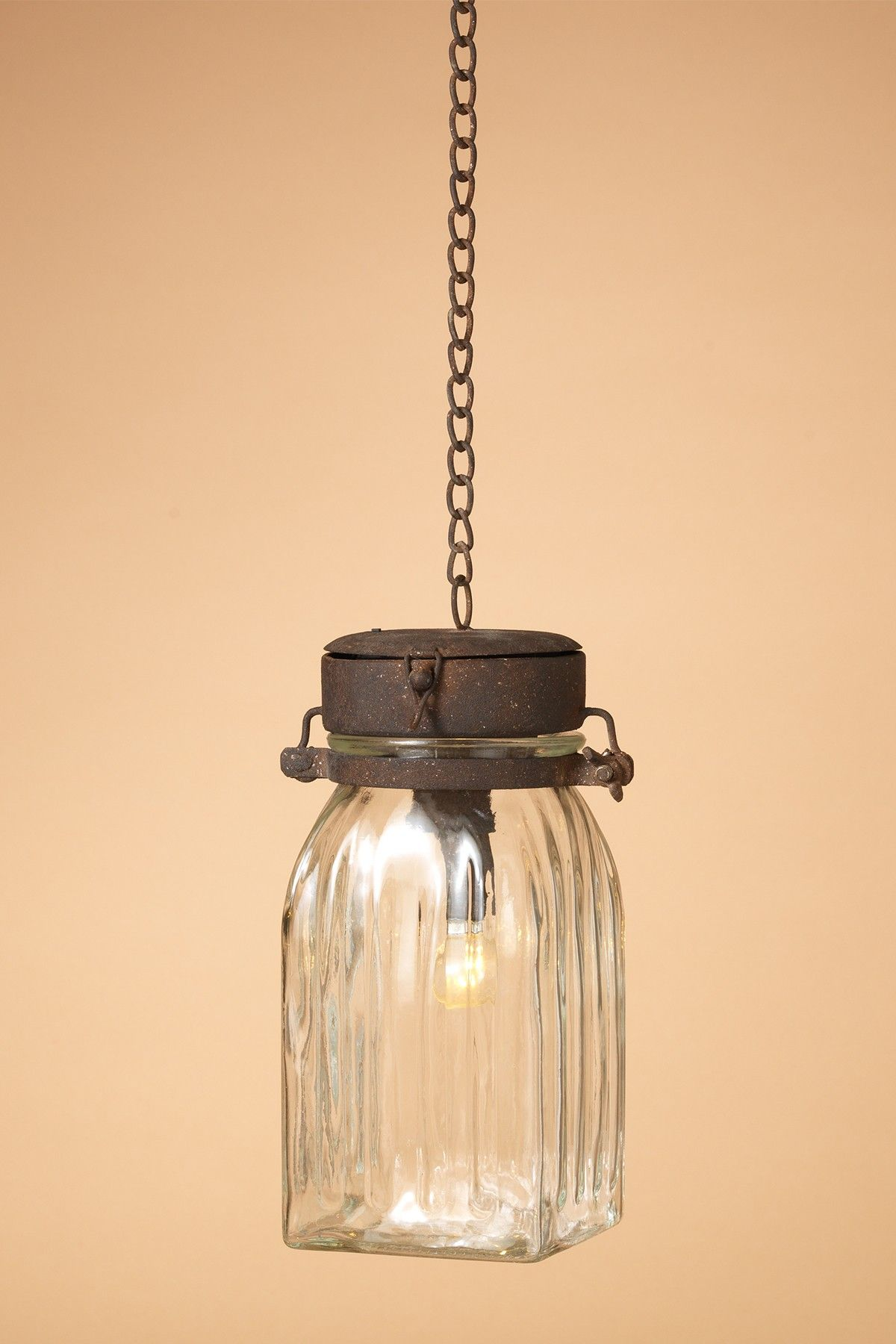 9 25 Lighted Metal Gl Battery Operated Hanging Lantern