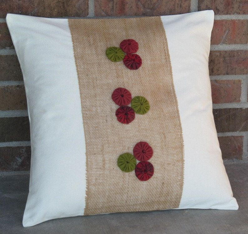 Burlap Throw Pillows Etsy : Holidays Decorative Throw Pillows Burlap YoYo Rosettes Red Green Ivory 20
