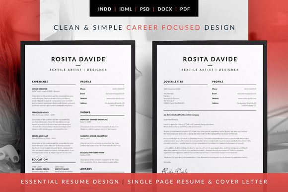 Essential Resume   CV U0026 Cover Letter Templates. Career Professional    Rosita By Bilmaw Creative On @creativemarket