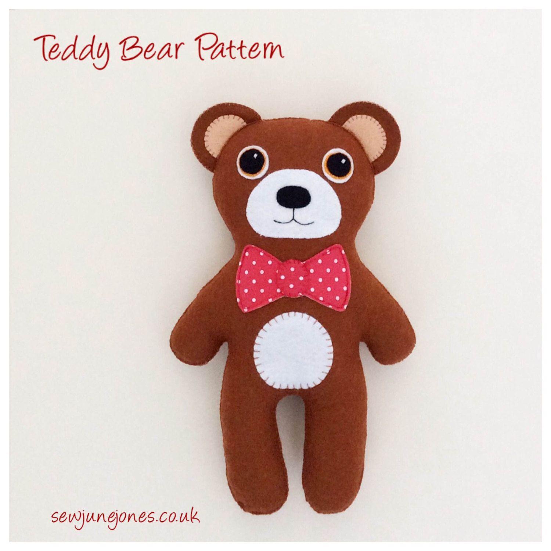 Pdf sewing pattern to make a felt teddy bear tutorial instant pdf sewing pattern to make a felt teddy bear tutorial instant download by sewjunejones jeuxipadfo Images